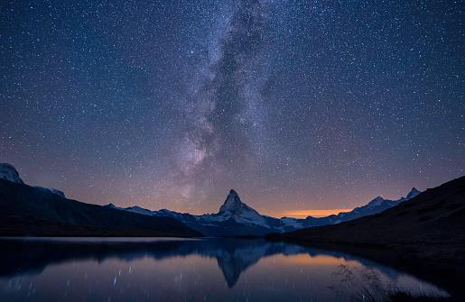 Matterhorn,a milky way and a reflection near the lake at night, Switzerland