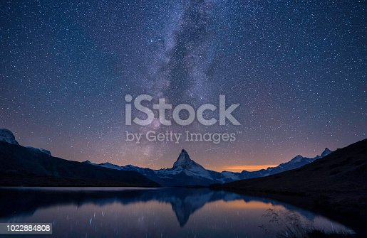 Matterhorn, milky way and a reflection at night, Switzerland