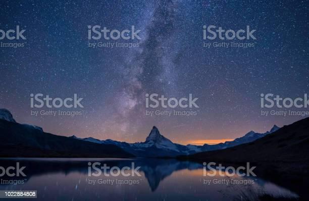 Photo of Matterhorn,a milky way and a reflection near the lake at night, Switzerland