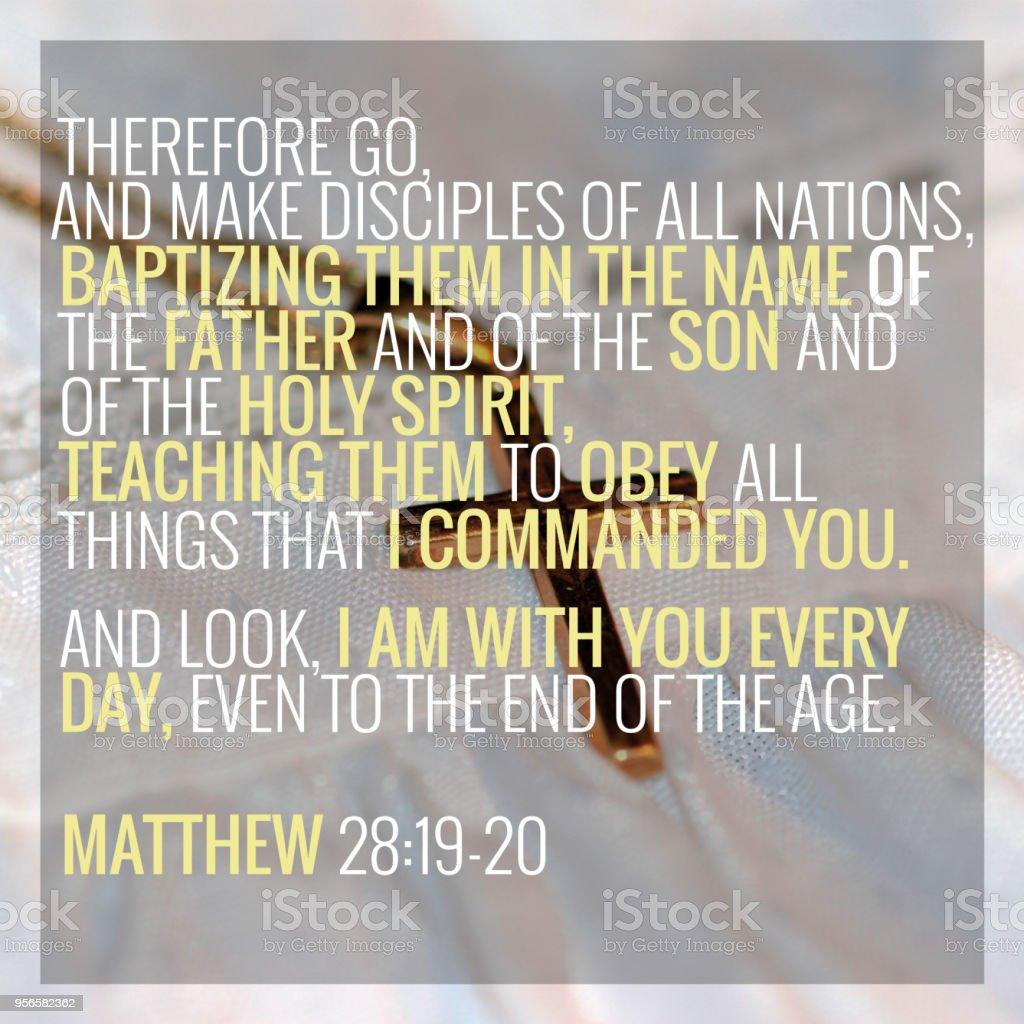 Matthew 281920 Bible Verse Stock Photo - Download Image Now - iStock
