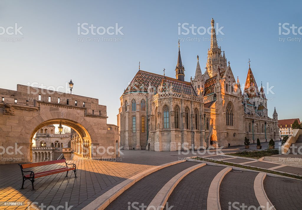 Matthias Church and Fisherman's Bastion, Budapest, Hungary stock photo