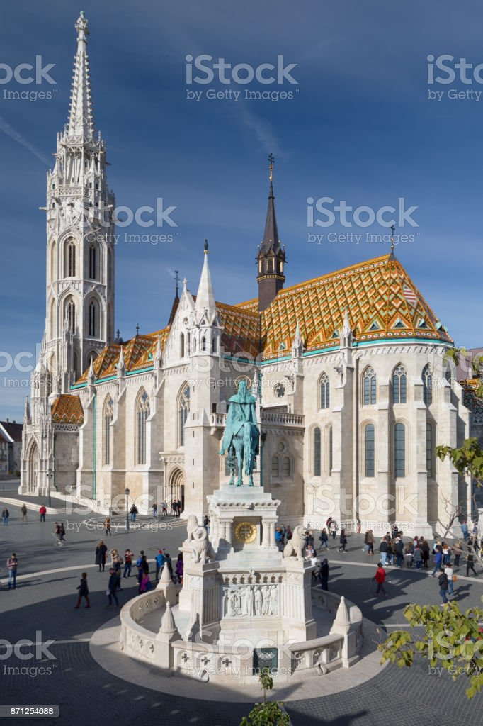 Matthias Church and Statue of St. Stephen, Budapest, Hungary stock photo