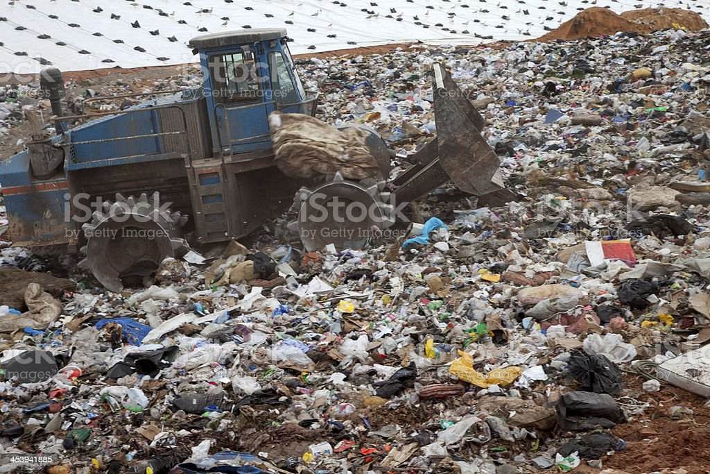 Mattress in landfill stock photo