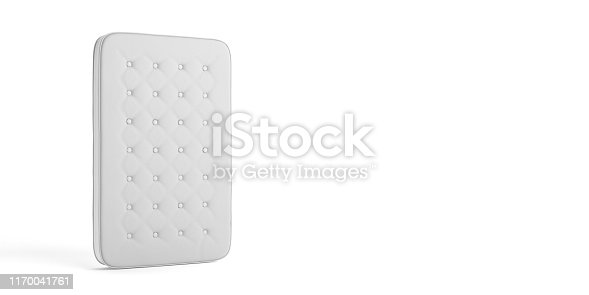 Mattress one single isolated on white background, copy space. 3d illustration. Comfort sleep, good dreams