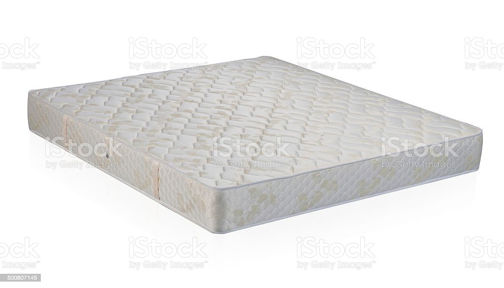 Mattress spring bed isolated on white stock photo