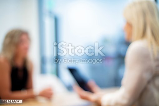 istock Mature Adult Businesswomen in a Corporate Office Workspace Out of Focus Business Backgrounds 1165822035