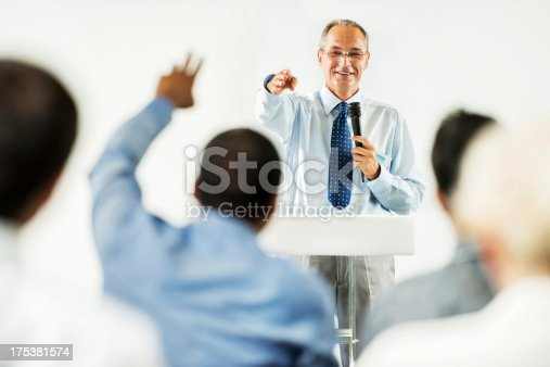854811490 istock photo Mature adult man having a public speech. 175381574