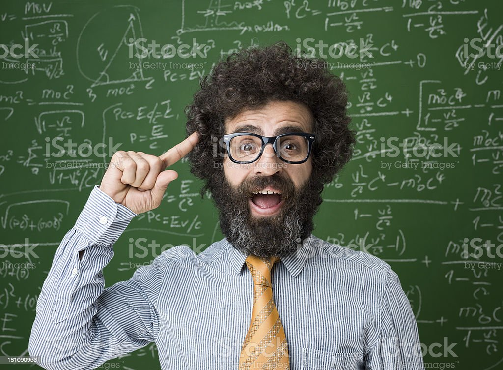 Mature adult man portrait in front of blackboard royalty-free stock photo