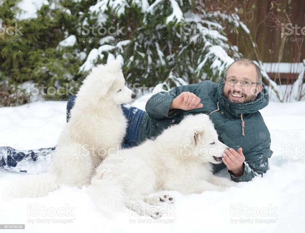Mature Adult man with a white dog on the nature photo libre de droits