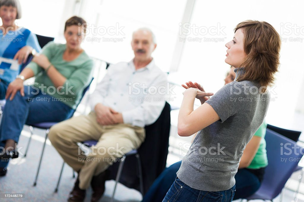 Mature adults on seminar stock photo