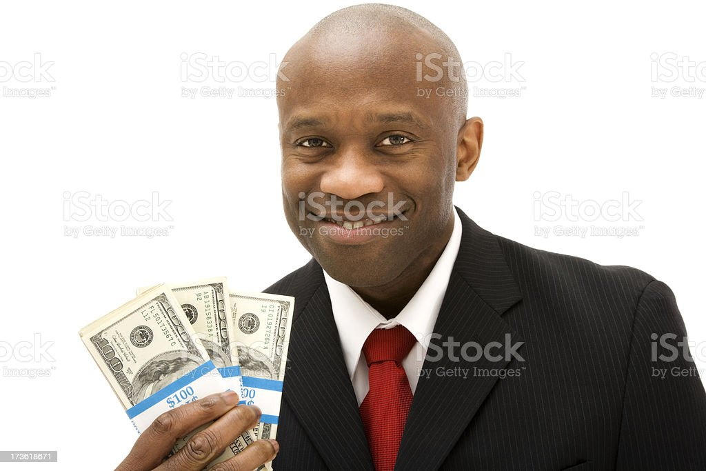 Mature African American business man holding cash money smiling suit royalty-free stock photo