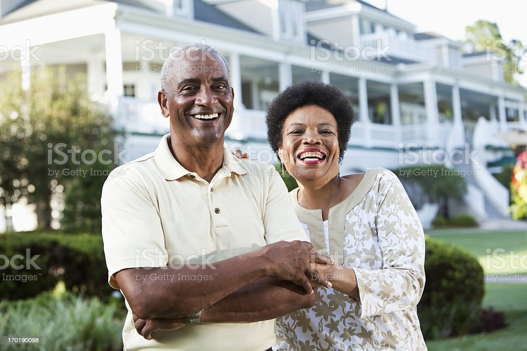 Mature African American couple at country club stock photo