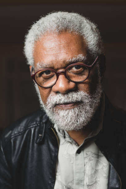 Mature African American man in glasses-Photo of head stock photo