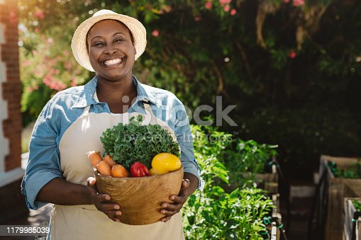 Portrait of a smiling mature African American woman carrying a bowl full of fresh organic vegetables while standing in her garden