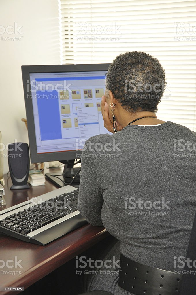 Mature African American Woman Working at Computer royalty-free stock photo