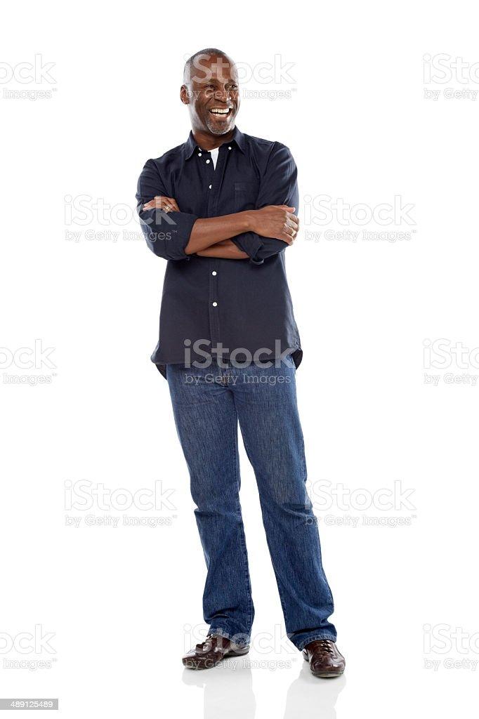 Mature african man smiling at copyspace stock photo