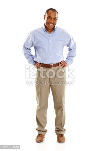 istock Mature african man standing confidently on white 187110435