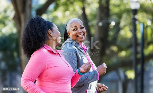 1036366486istockphoto Mature African-American women in city, exercising 1036366486