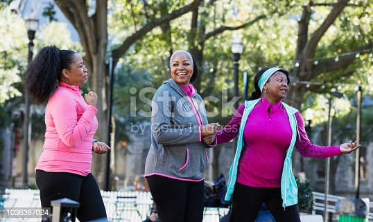 1036366486istockphoto Mature African-American women in city, exercising 1036367024
