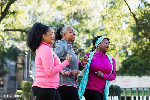 1036366486istockphoto Mature African-American women in city, exercising 1047623888