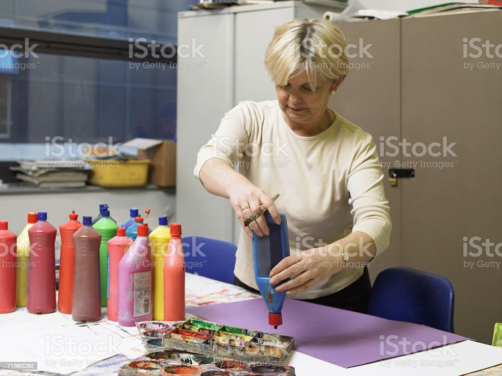 Mature art student royalty-free stock photo