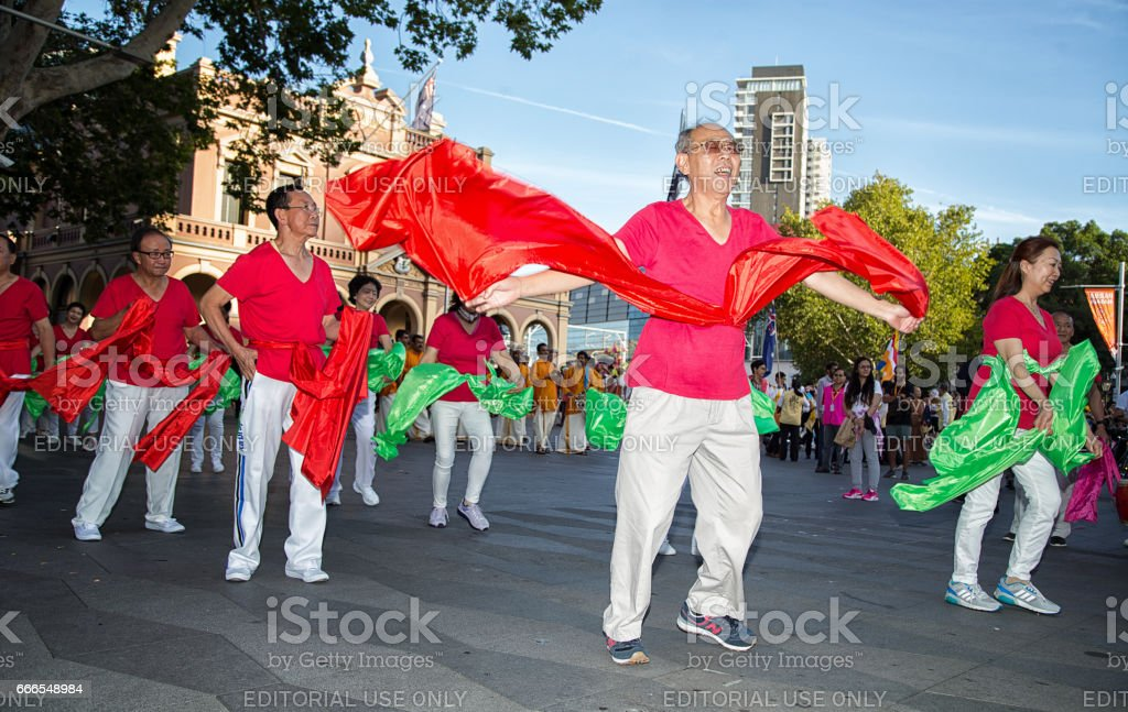 Mature Asian dancers in a Sydney multicultural festival stock photo