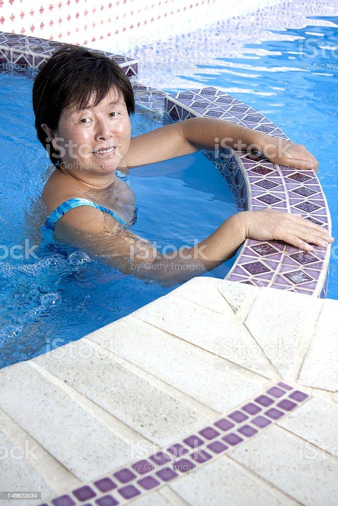 Hot mature in pool