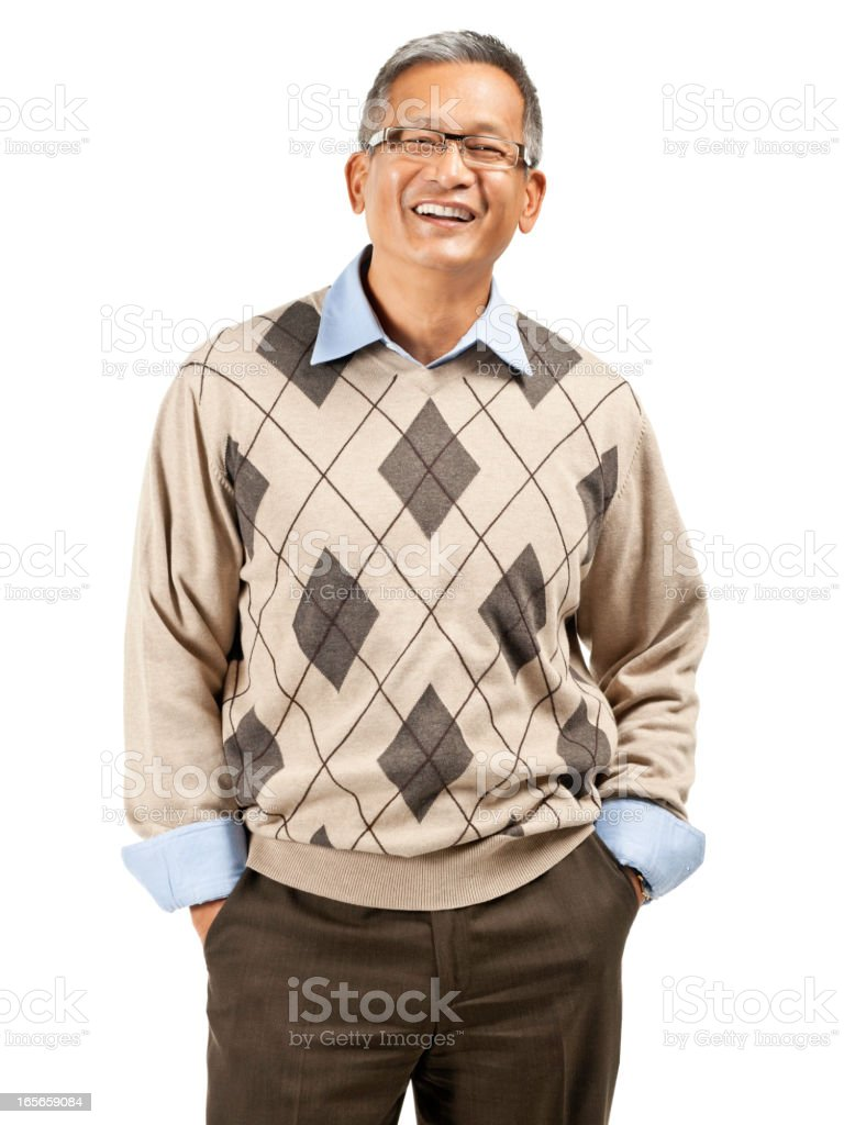 Mature Asian Male Portrait - Isolated stock photo