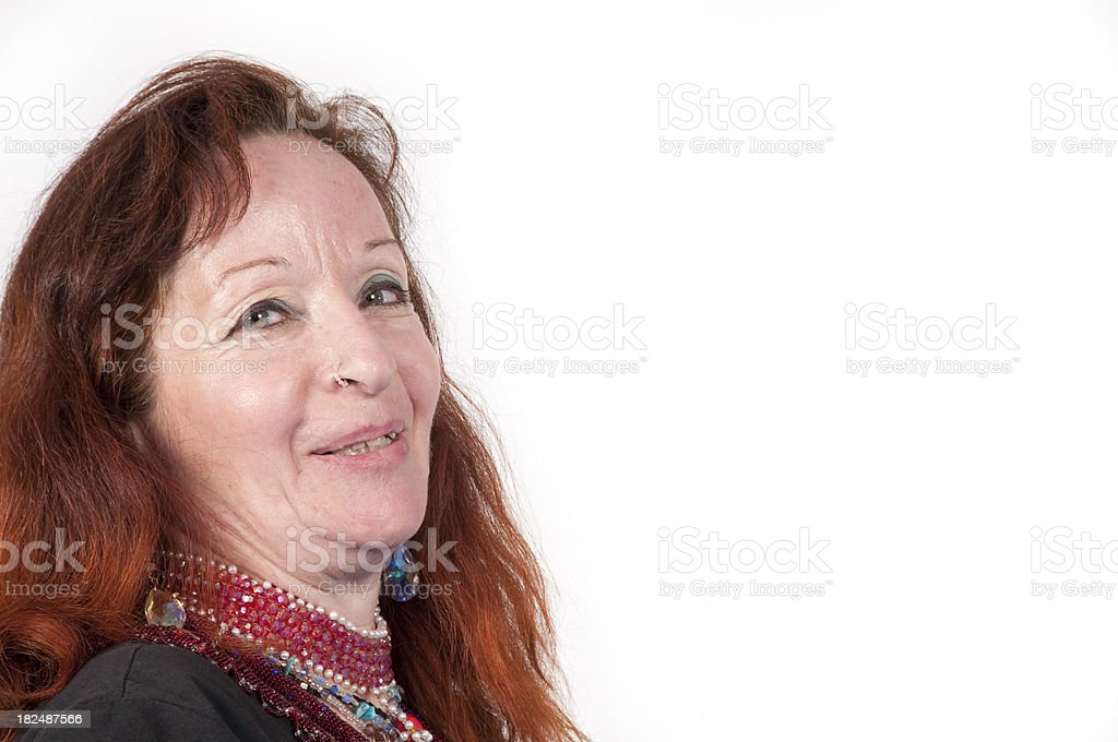 Mature bejeweled woman royalty-free stock photo