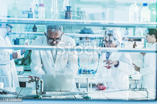 499203366 istock photo Mature biochemists working on scientific research in laboratory. 1161938454
