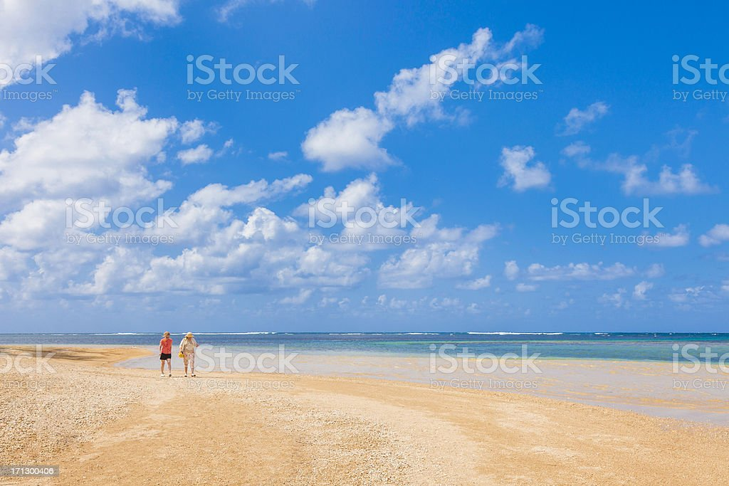 mature boomer sisters-in-law walking on tropical beach stock photo