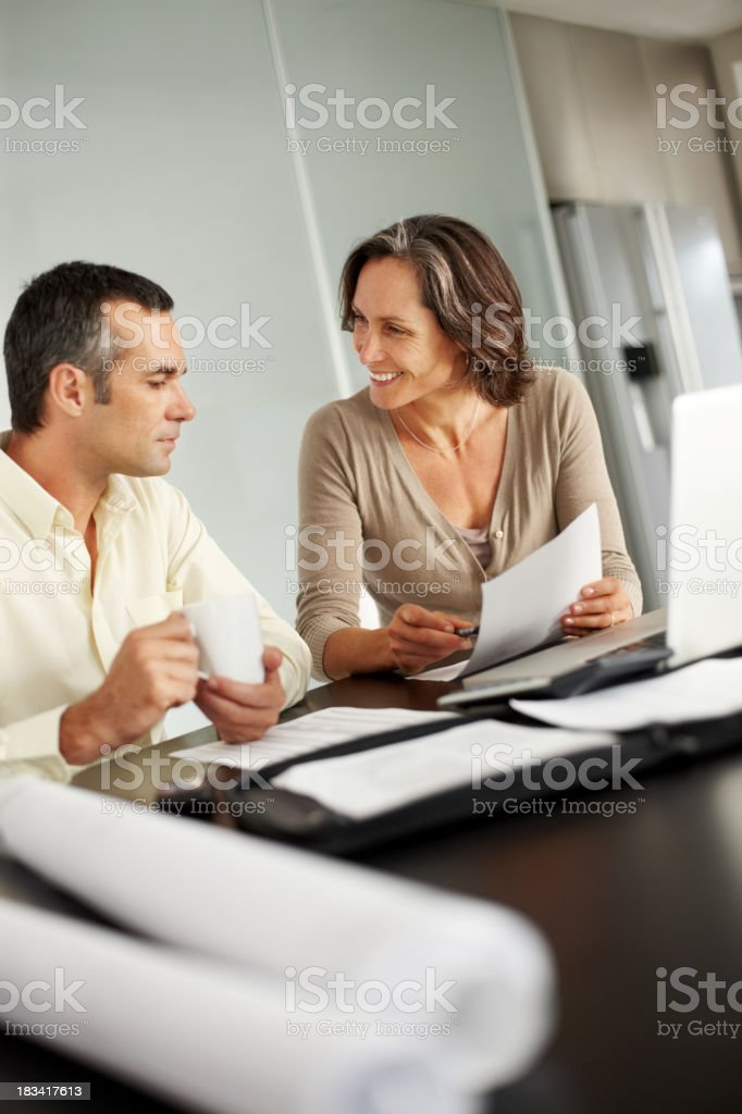 Mature business colleagues working on their project royalty-free stock photo