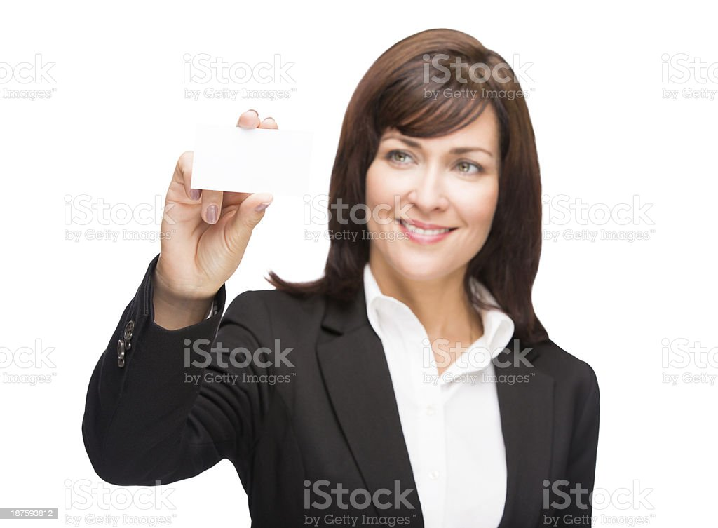 Mature business woman holding a card royalty-free stock photo