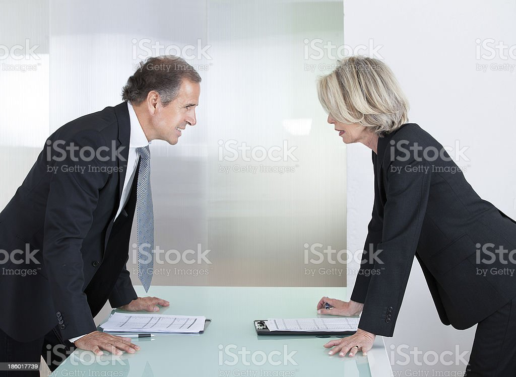 Mature Businessman And Businesswoman Fighting stock photo