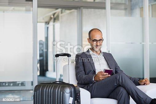 istock Mature businessman at airport 825083146