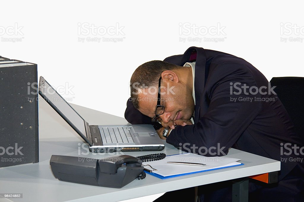 mature businessman having a power nap royalty-free stock photo