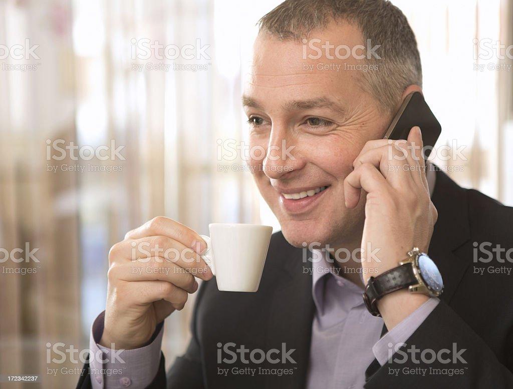 Mature businessman in restaurant. royalty-free stock photo