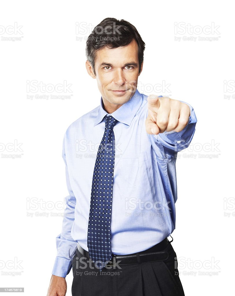 Mature businessman pointing towards camera royalty-free stock photo