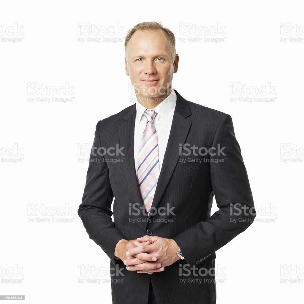 Reifer Geschäftsmann Porträt-isoliert – Foto