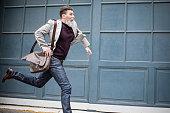 Mature businessman rushing to work
