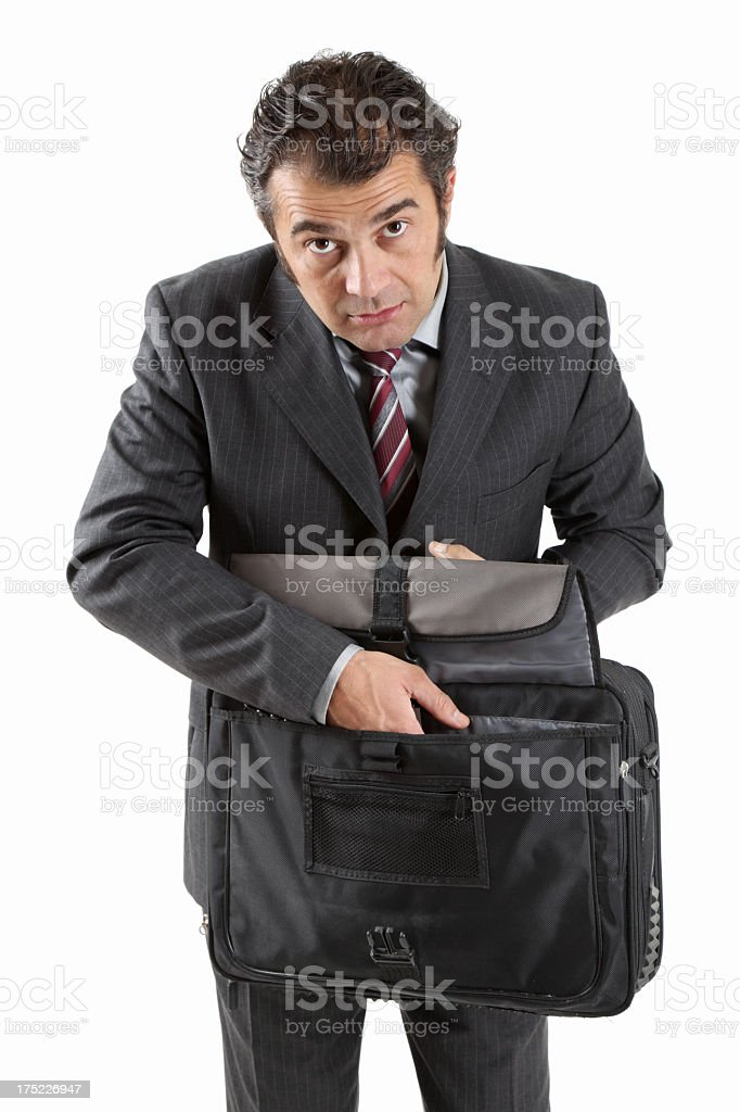Mature businessman with briefcase royalty-free stock photo