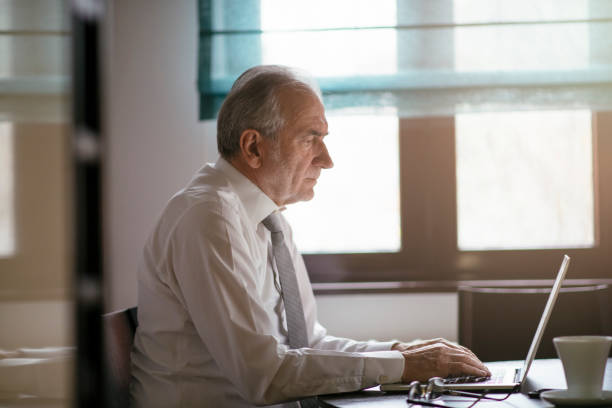 Mature businessman working from home stock photo