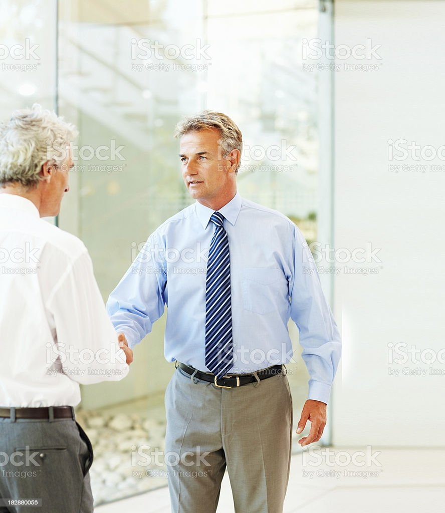 Mature businessmen handshaking in office royalty-free stock photo