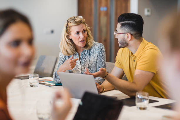 Mature businesswoman discussing with colleague using laptop stock photo