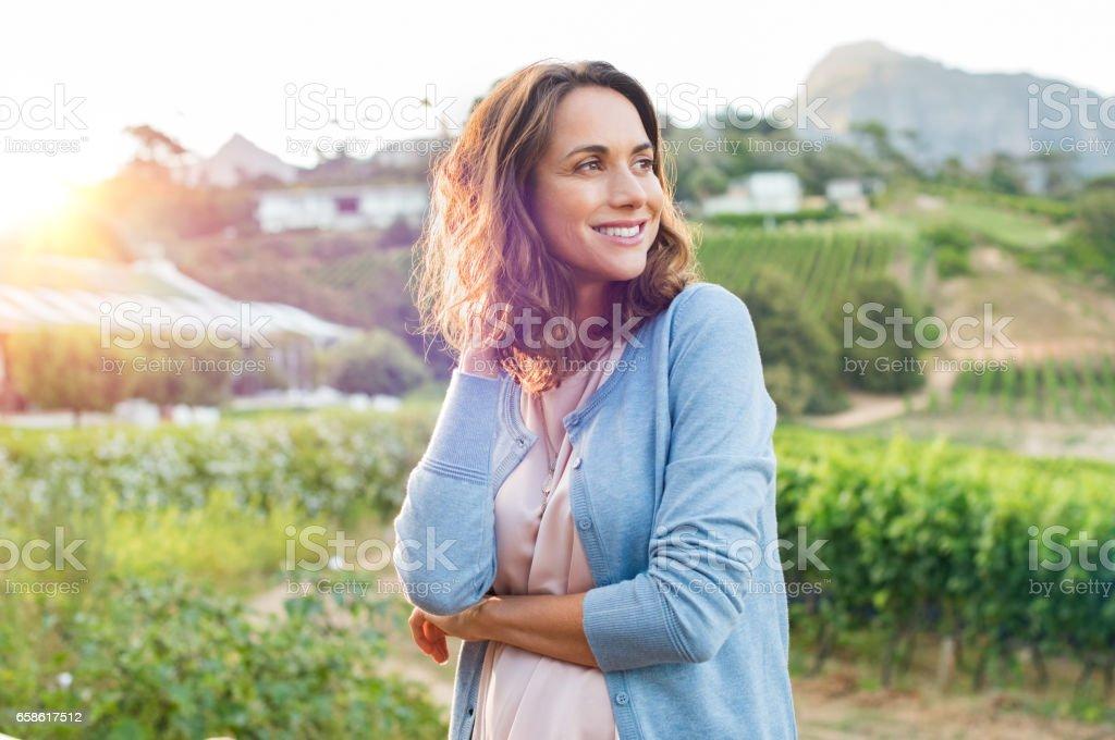 Mature cheerful woman stock photo