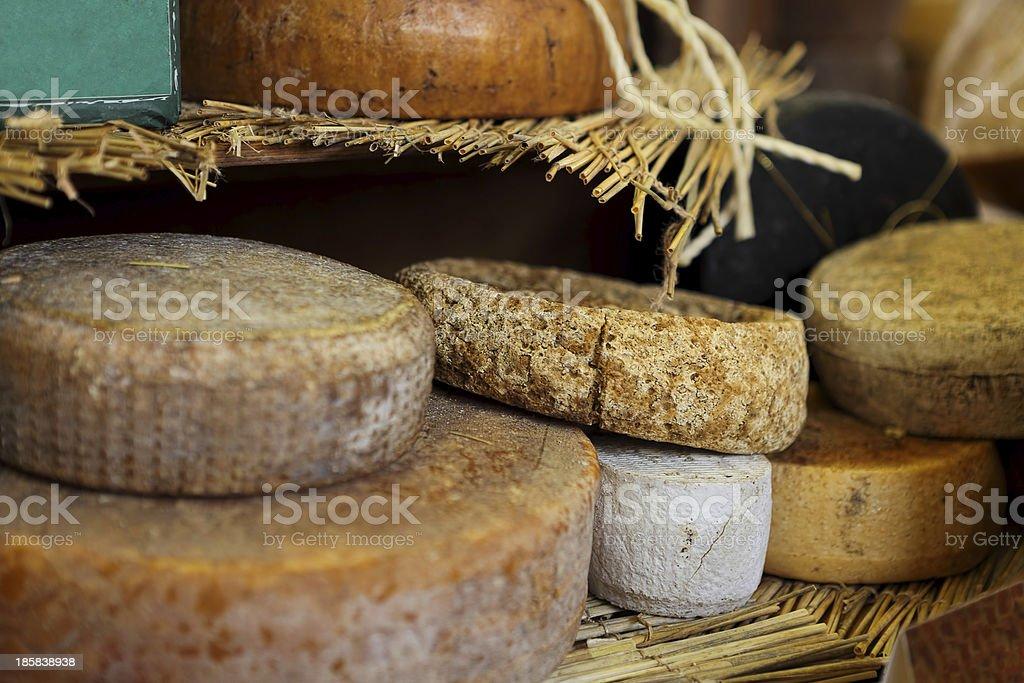 Mature cheese wheels. stock photo
