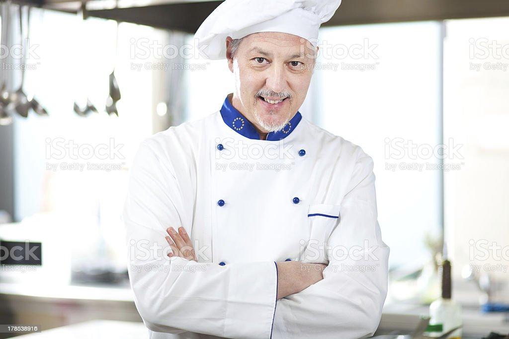 Mature chef stock photo