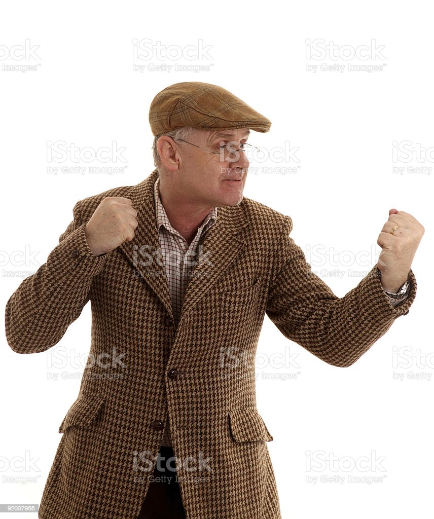 Mature country man up for a fight stock photo