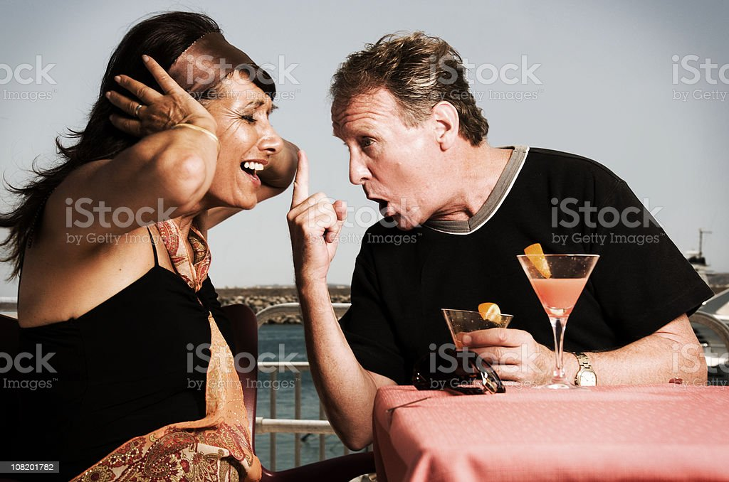 Mature Couple Arguing on their Vacation royalty-free stock photo