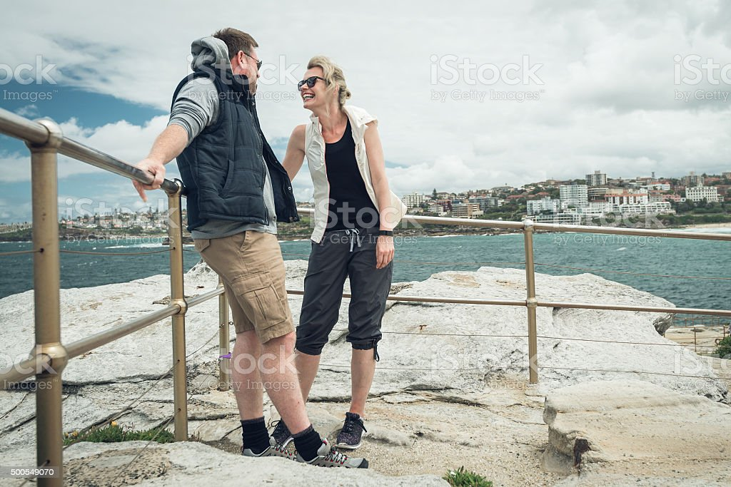 Mature couple at Bondi Beach stock photo